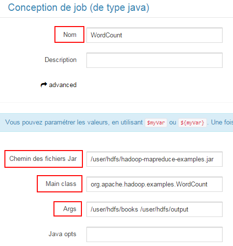 Configuration d'un job MapReduce par l'interface web Hue
